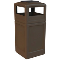 Commercial Zone 73303799 PolyTec 42 Gallon Brown Waste Container and Ashtray Dome Lid Set