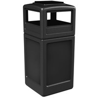 Commercial Zone 73300199 PolyTec 42 Gallon Black Waste Container and Ashtray Dome Lid Set
