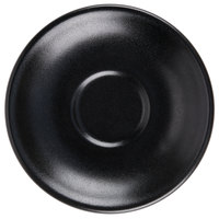 Hall China 302820AFCA Foundry 6 inch Black Ceramic Universal Boston Saucer for Boston Cup - 12/Case