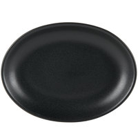 Hall China by Steelite International HL303130AFCA Foundry 11 1/2 inch x 8 1/2 inch Black China Oval Platter - 12/Case
