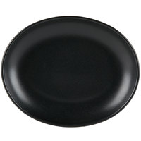 Hall China by Steelite International HL303150AFCA Foundry 13 1/8 inch x 10 1/2 inch Black China Oval Platter - 6/Case