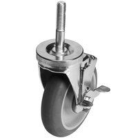 Cambro Camshelving EMCWB000 5 inch Premium Stainless Steel Swivel Caster with Brake for Elements Series Mobile Shelving Units