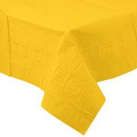 Creative Converting 710234B 54 inch x 108 inch School Bus Yellow Tissue / Poly Table Cover