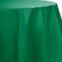 Creative Converting 703261 82 inch Emerald Green OctyRound Disposable Plastic Table Cover