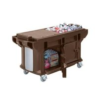 Cambro VBRUTHD6146 Bronze 6' Versa Ultra Work Table with Storage and Heavy-Duty Casters