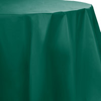 Creative Converting 703124 82 inch Hunter Green OctyRound Disposable Plastic Table Cover