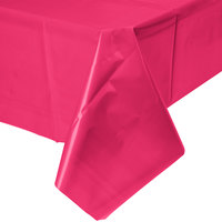 Creative Converting 01413B 54 inch x 108 inch Hot Magenta Pink Disposable Plastic Table Cover