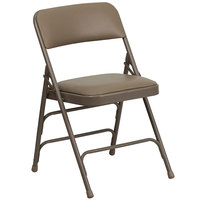 Flash Furniture HA-MC309AV-BGE-GG Beige Metal Folding Chair with 1 inch Padded Vinyl Seat