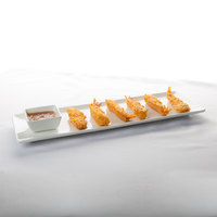 World Tableware SL-22C Slate 16 1/4 inch x 5 1/2 inch Ultra Bright White Coupe Rectangular Porcelain Tray - 12/Case