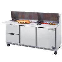 Beverage Air SPED72-08C-2 72 inch 2 Door 2 Drawer Cutting Top Refrigerated Sandwich Prep Table with 17 inch Wide Cutting Board