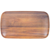 Carlisle EAG0569 Epicure Acacia 7 3/4 inch x 13 7/8 inch Woodgrain Rectangular Melamine Tray - 12 / Case