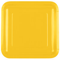 Creative Converting 463269 9 inch School Bus Yellow Square Paper Dinner Plate - 18 / Pack