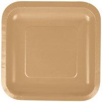 Creative Converting 453276 7 inch Glittering Gold Square Paper Plate - 18/Pack