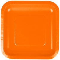 Creative Converting 453282 7 inch Sunkissed Orange Square Paper Lunch Plate - 18 / Pack