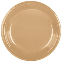 Creative Converting 28103031B 10 inch Glittering Gold Plastic Banquet Plate - 50 / Pack