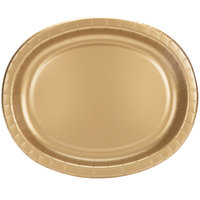Creative Converting 433276 12 inch x 10 inch Glittering Gold Oval Paper Platter - 8/Pack