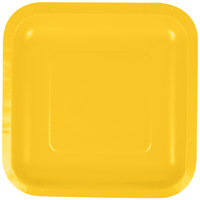 Creative Converting 453269 7 inch School Bus Yellow Square Paper Plate - 18/Pack