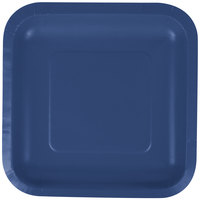 Creative Converting 453278 7 inch Navy Blue Square Paper Plate - 18/Pack