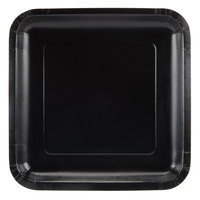 Creative Converting 453260 7 inch Black Velvet Square Paper Lunch Plate - 18 / Pack