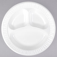 Dart 10CPWCR Concorde 10 1/4 inch 3 Compartment White Non-Laminated Round Foam Plate - 500/Case
