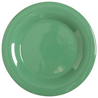 GET WP-7-FG Diamond Mardi Gras 7 1/2 inch Rainforest Green Wide Rim Round Melamine Plate - 48/Case
