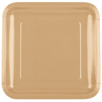 Creative Converting 463276 9 inch Glittering Gold Square Paper Plate - 18/Pack