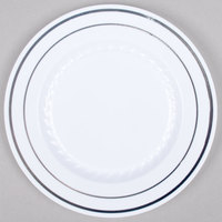 Fineline Silver Splendor 506-WH 6 inch White Plastic Plate with Silver Bands - 150 / Case