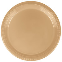 Creative Converting 28103011B 7 inch Glittering Gold Plastic Plate - 50 / Pack