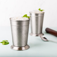 World Tableware JC-26 15 oz. Etched Stainless Steel Mint Julep Cup - 12/Case