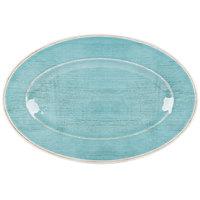 Carlisle 6402115 Grove 14 inch x 20 inch Aqua Oval Melamine Tray - 4/Case
