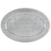 Carlisle 6402118 Grove 14 inch x 20 inch Smoke Oval Melamine Tray - 4/Case