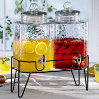 The Jay Companies 210266-GB Double 1.5 Gallon Style Setter Hamburg Glass Beverage Dispenser with Metal Stand