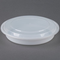 40 oz. White 9 inch Round Microwavable Container with Lid - 150/Case