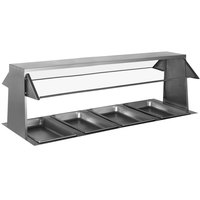 Eagle Group BS2-HT4-IL 63 1/2 inch x 36 1/4 inch Stainless Steel Buffet Shelf with 2 Sneeze Guards for 4 Well Food Tables