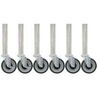 Advance Tabco TA-25S-6 5 inch Stainless Steel Legs with 5 inch Swivel Stem Casters - 6/Set