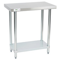 Regency 18 inch x 30 inch 18-Gauge 304 Stainless Steel Commercial Work Table with Galvanized Legs and Undershelf