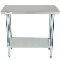 Beau Regency 18 Inch X 36 Inch 18 Gauge 304 Stainless Steel Commercial Work Table  With ...