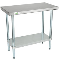 Regency 18 inch x 36 inch 18-Gauge 304 Stainless Steel Commercial Work Table with Galvanized Legs and Undershelf
