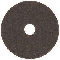 3M 7100 17 inch Brown Stripping Floor Pad - 5/Case
