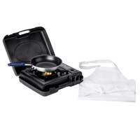 Portable 4-Piece Cooking Kit with Single Burner Butane Range, Fry Pan, Pan Grip, and Bib Apron