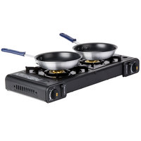 Portable 5-Piece Cooking Kit with Butane Double Burner Range, 2 Fry Pans, and 2 Pan Grips