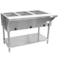 Advance Tabco SW-3E-120-T Three Pan Electric Hot Food Table with Thermostatic Control and Undershelf - Sealed Well, 120V