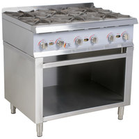 Cooking Performance Group 36RSBNL 6 Burner Gas Range / Hot Plate with Cabinet Base - 132,000 BTU