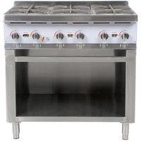 Cooking Performance Group HP636 6 Burner Gas Hot Plate with Cabinet Base - 132,000 BTU