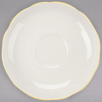 CAC SC-36G Seville 4 1/2 inch Ivory (American White) Scalloped Edge China Saucer with Gold Band - 36/Case