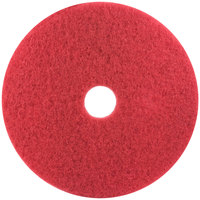 3M 5100 19 inch Red Buffing Floor Pad - 5/Case
