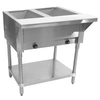 Advance Tabco SW-2E-120-T Two Pan Electric Hot Food Table with Thermostatic Control and Undershelf - Sealed Well, 120V