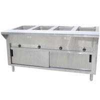 Advance Tabco SW-4E-240-DR-T Four Pan Electric Hot Food Table with Thermostatic Control, Enclosed Base, and Sliding Doors - Sealed Well, 240V
