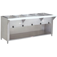Advance Tabco SW-5E-BS-T Five Pan Electric Hot Food Table with Thermostatic Control and Enclosed Base - Sealed Well