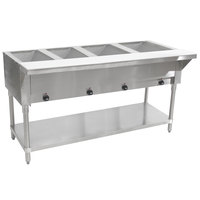 Advance Tabco SW-4E-120-T Four Pan Electric Hot Food Table with Thermostatic Control and Undershelf - Sealed Well, 120V